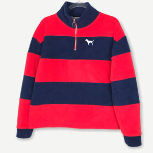 PINK Mock Neck Blue Red Stripe Pullover Sweater M